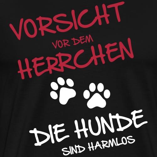 Vorsicht Herrchen - Hunde - Männer Premium T-Shirt