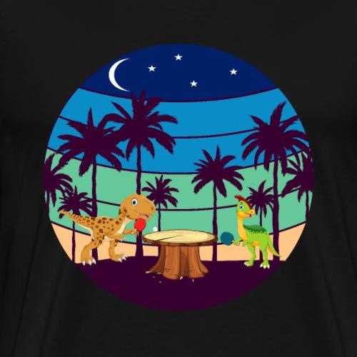Zwei Dinos beim Tischtennis Spiel, lustig. - Männer Premium T-Shirt