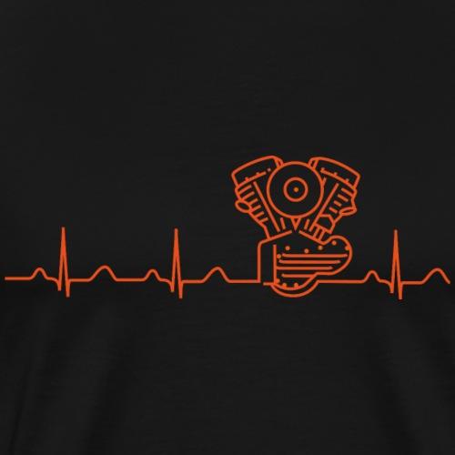 Panhead Heartbeat-Motiv orange - Männer Premium T-Shirt