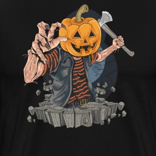 Halloween Grusel Kürbis Horror Monster mit Axt - Männer Premium T-Shirt