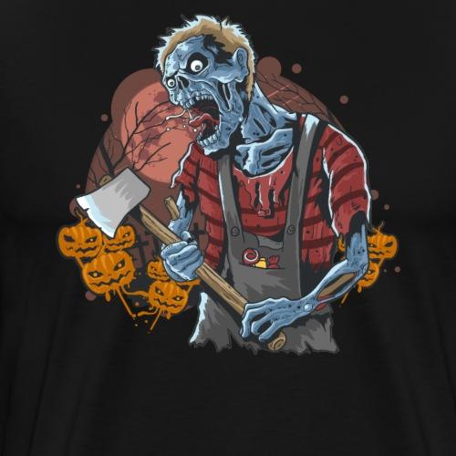 Halloween Grusel Kürbis Horror Zombie mit Axt - Männer Premium T-Shirt
