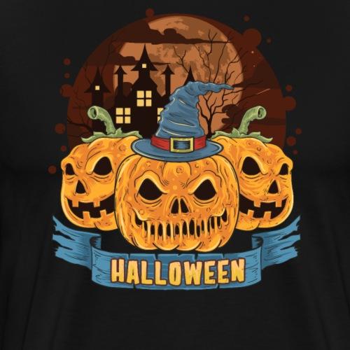 Halloween Grusel Kürbis Horror Geisterschloss - Männer Premium T-Shirt