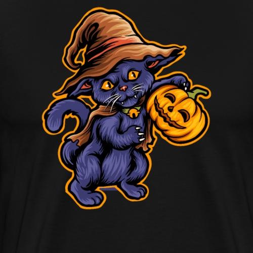 Halloween Grusel Hexen Katze mit Kürbis Laterne - Männer Premium T-Shirt