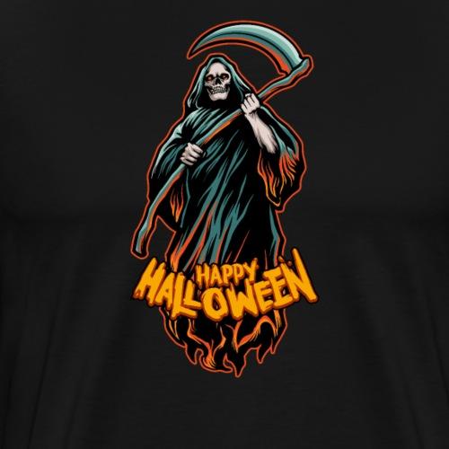 Halloween Grusel Kürbis Horror Retro Sensemann - Männer Premium T-Shirt