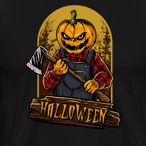 Halloween Grusel Kürbis Horror Holzfäller mit Axt - Männer Premium T-Shirt
