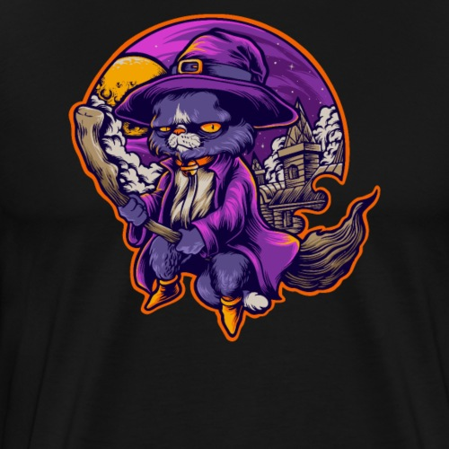 Halloween Grusel Horror Hexen Katze auf Besen - Männer Premium T-Shirt