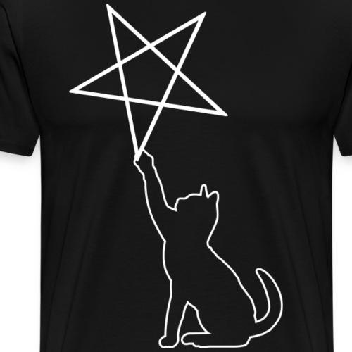 Katze spielt mit Pentagramm. - Männer Premium T-Shirt