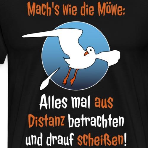 Möwe Scheißen Distanz Abstand Corona Spruch Lustig - Männer Premium T-Shirt