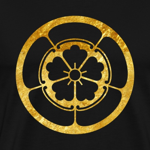 Oda Mon Japanese samurai clan in gold - Men's Premium T-Shirt