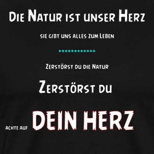 Natur Herz Geschenk Natur Umwelt Schützen Helfen - Männer Premium T-Shirt