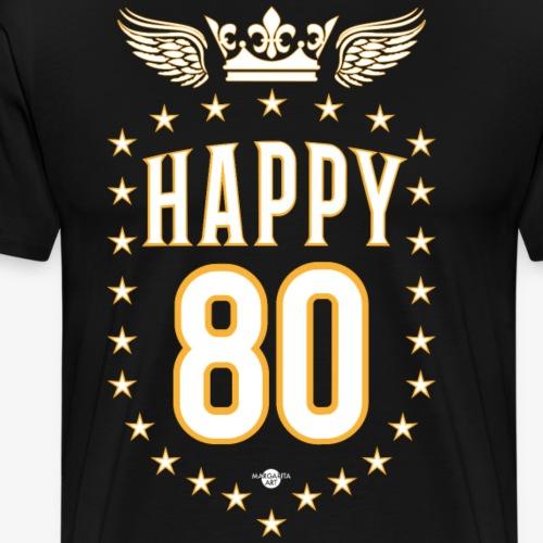 08 Happy 80 Crown Wings Star Birthday - Männer Premium T-Shirt