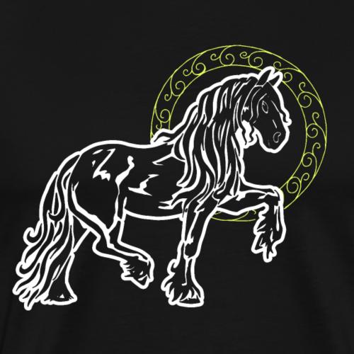 Friese Pferd Stolz Lustig Kreis Goldring Geschenk - Männer Premium T-Shirt