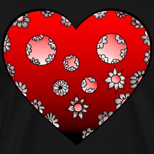 Herz mit Blumen in Rot - Männer Premium T-Shirt