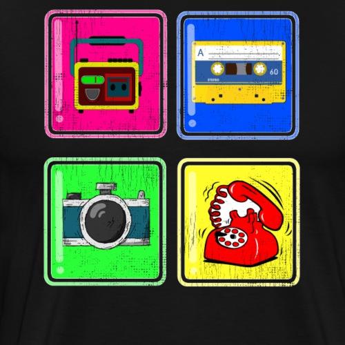 Rekorder,Kassette, Fotoapparad, Telefon - Männer Premium T-Shirt