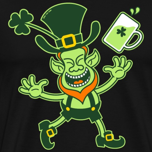 Euphoric Leprechaun Celebrating St Patrick's Day - Men's Premium T-Shirt