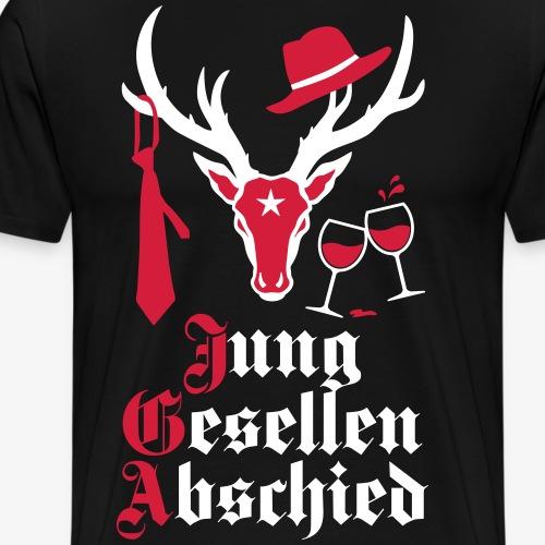 161 Hirsch JGA Junggesellenabschied Wein Krawatte - Männer Premium T-Shirt