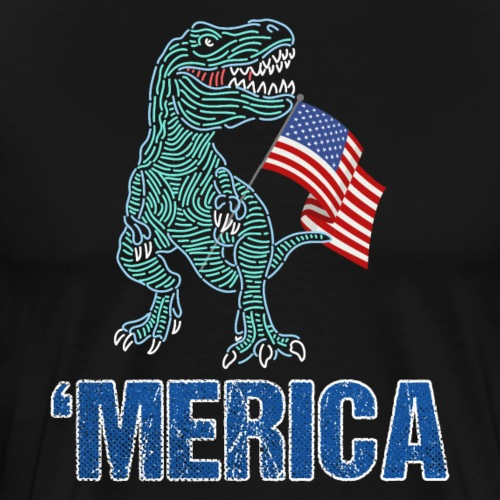 Patriotic T-Rex American Flag Independence Day - Männer Premium T-Shirt