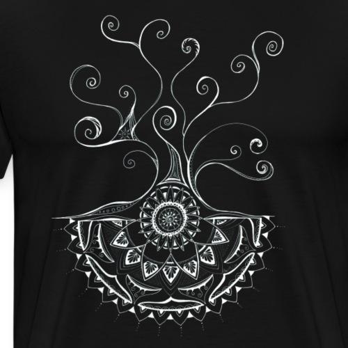 Mandala Baum in weiss, handgemalt - Männer Premium T-Shirt