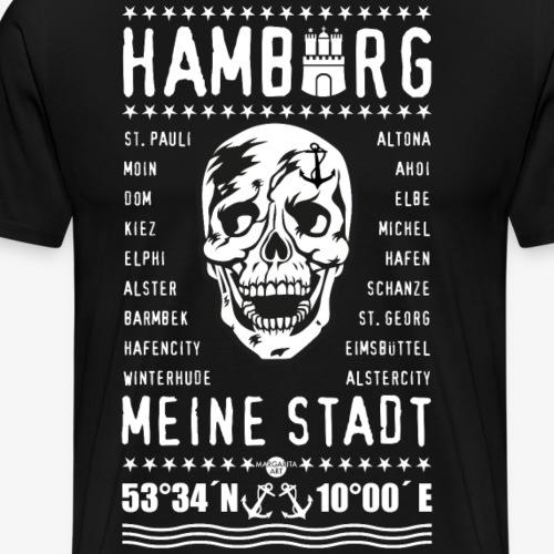 84 Skull Totenkopf Hamburg MEINE STADT Stadtteile - Männer Premium T-Shirt