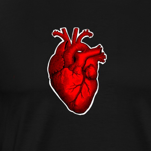 Retro Victorian Etching Style Human Heart - Men's Premium T-Shirt