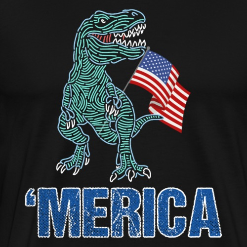 Patriotic T-Rex American Flag Independence Day - Männer Premium T-Shirt
