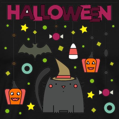 Halloween, katze, kürbis