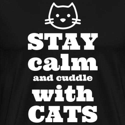 Calm Cuddle Cats - Miesten premium t-paita