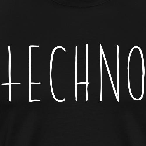 Techno Hand Schrift Text Kreuz Raver Party Musik - Männer Premium T-Shirt