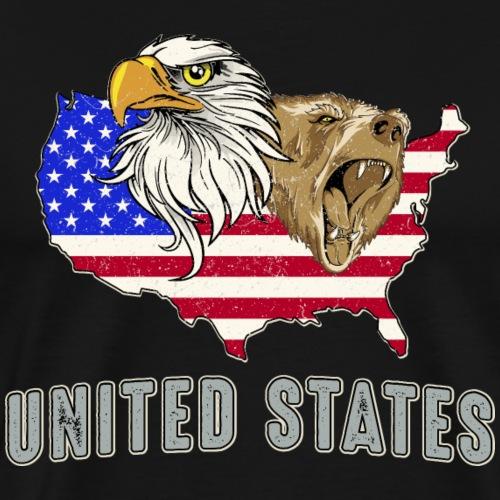 United States America Amerika USA Grizzlybär Adler - Men's Premium T-Shirt