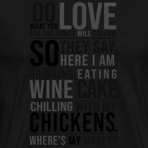 Wine, Cake, Chickens - II - Miesten premium t-paita
