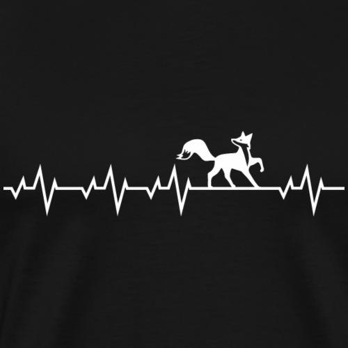 Herzschlag EKG Fuchs Fox Shirt Geschenk - Männer Premium T-Shirt