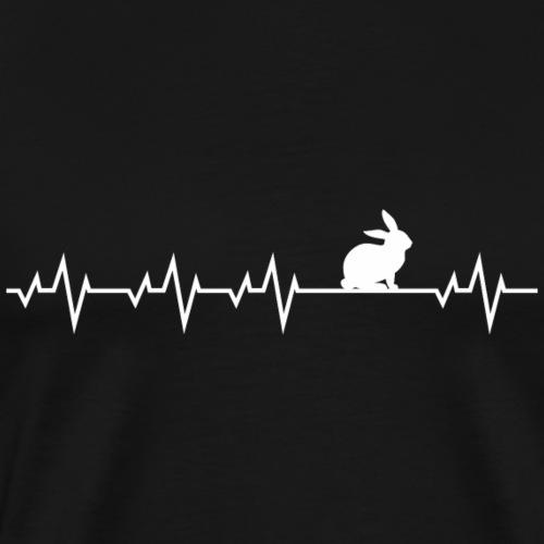 Herzschlag EKG Hase Rabbit Kaninchen Shirt Geschen - Männer Premium T-Shirt