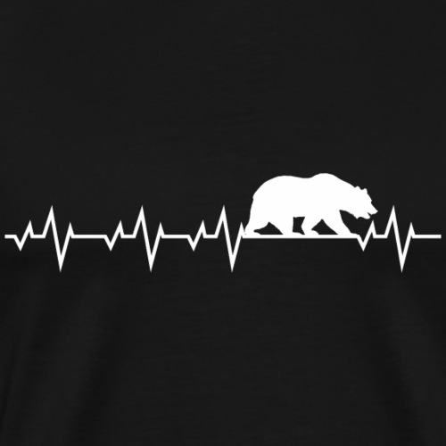 Herzschlag EKG Bär Frequenz Grizzly Shirt Geschenk - Männer Premium T-Shirt