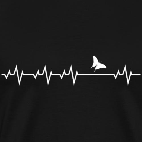 Herzschlag EKG Schmetterling Butterfly Shirt Gesch - Männer Premium T-Shirt
