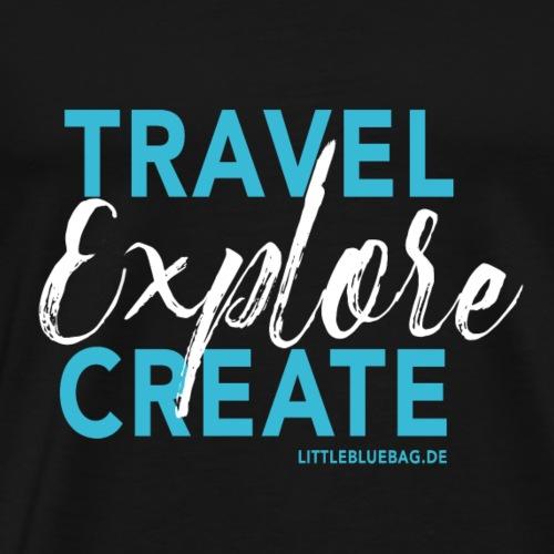 Travel explore create hellblau weiss - Männer Premium T-Shirt