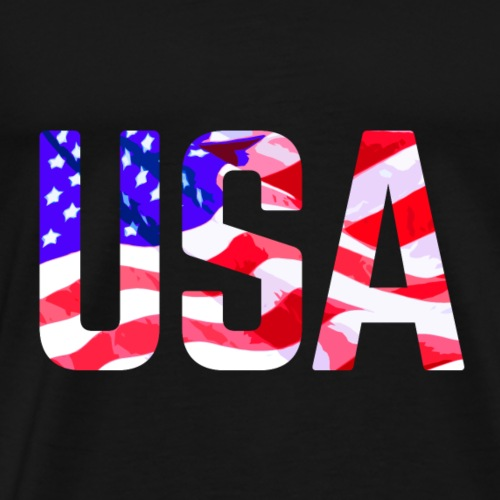USA Text With Flag - Miesten premium t-paita