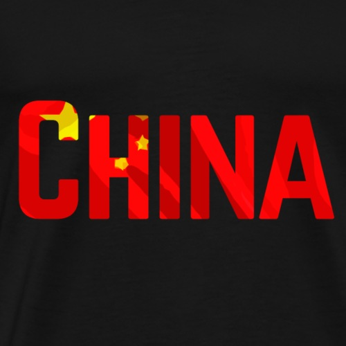 China Text With Flag - Miesten premium t-paita