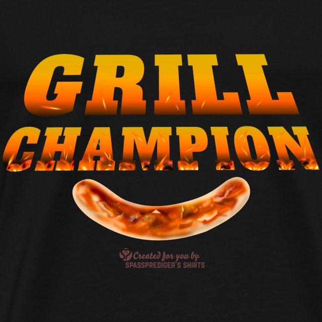 Grill Champion lustiger Grillen Spruch und Wurst