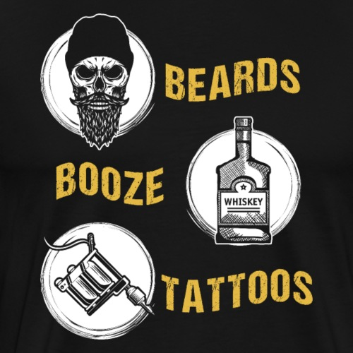 Beards Booze Tattoos Fathers Day Gift - Männer Premium T-Shirt