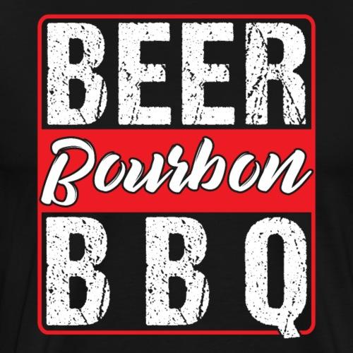 BEER BOURBON BBQ - Männer Premium T-Shirt