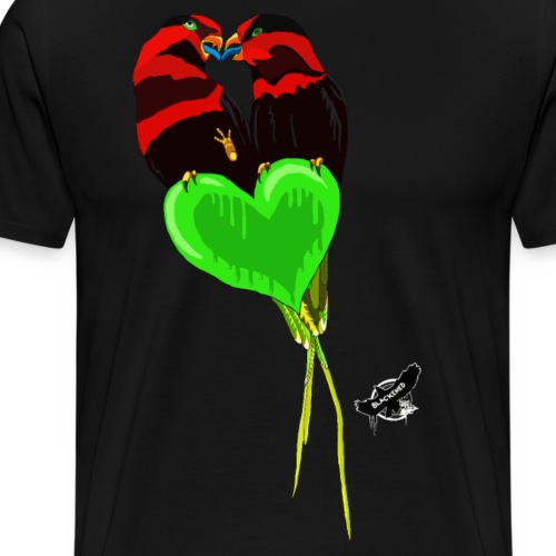 Lovebirds by BlackenedMoonArts, w. logo - Herre premium T-shirt