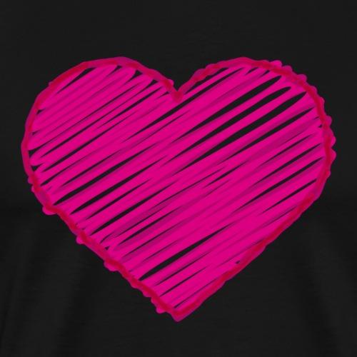Pinkes handgezeichnetes Herz - Männer Premium T-Shirt