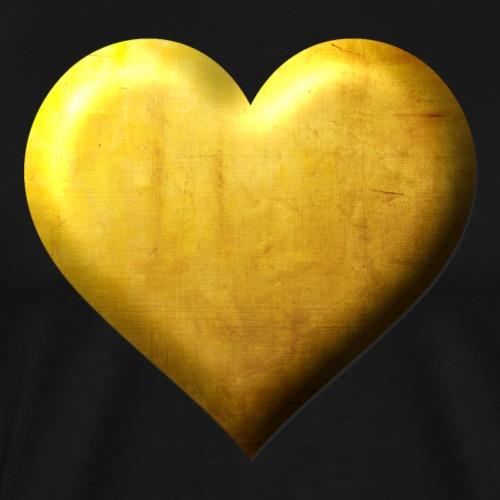 Goldenes Herz Edles Design gestanzt in Gold - Männer Premium T-Shirt