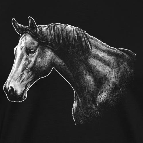 Photo cheval dessin cavalier cadeau équestre dessin - T-shirt Premium Homme
