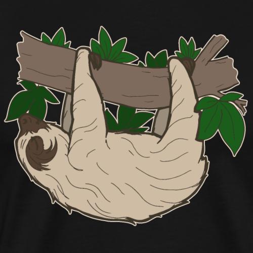 Lustiges süßes Faultier hängend comic Geschenk - Männer Premium T-Shirt