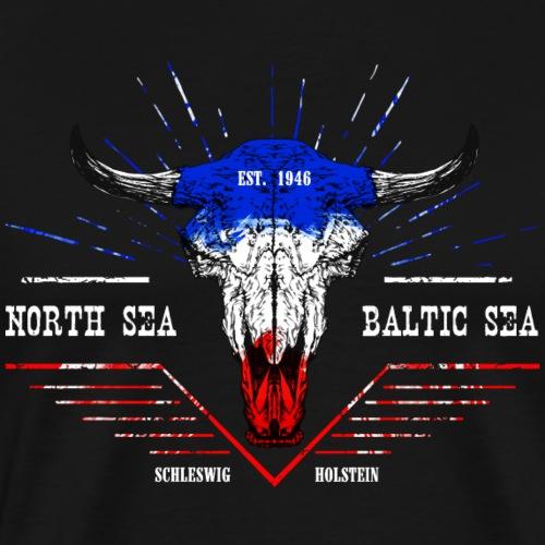 Bull Skull North Sea Baltic Sea - Männer Premium T-Shirt