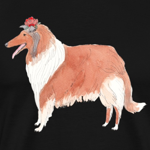 collie with flower - Herre premium T-shirt