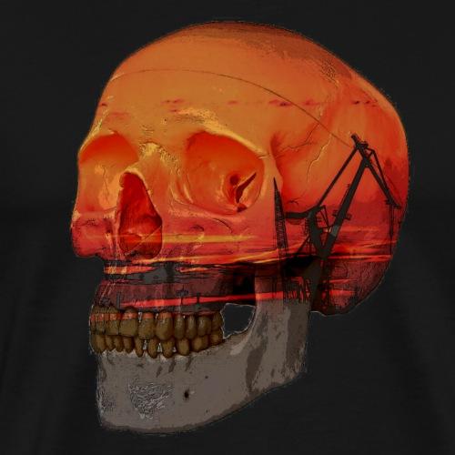 double exposure skull - Premium-T-shirt herr