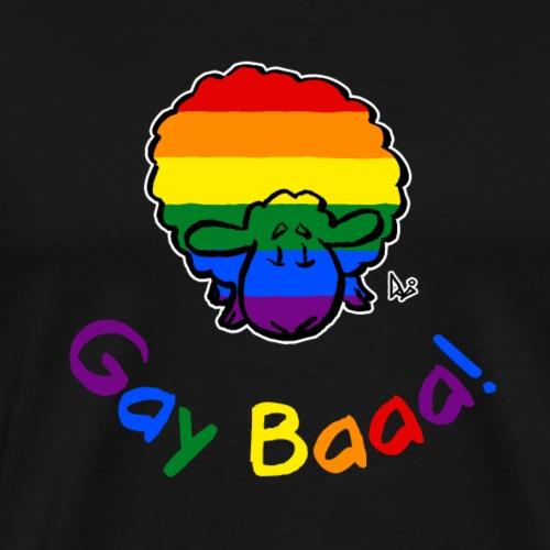 Gay Baaa! Pride Sheep (musta painos sateenkaari teksti) - Miesten premium t-paita