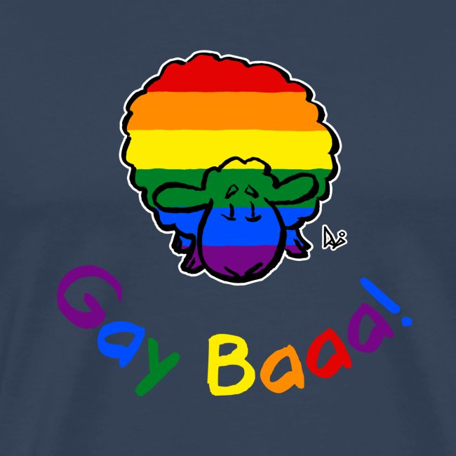 Gay Baaa! Pride Sheep (black edition rainbow text)